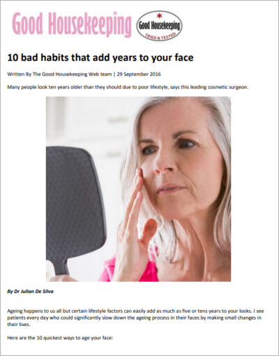 Article: Good Housekeeping - 10 bad habits that add years to your face