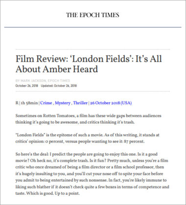 The Epoch Times - Film Review: London Fields - It's All About Amber Heard