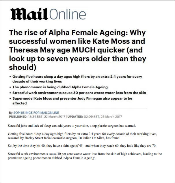 Article: MailOnline - The rise of Alpha Female Ageing: Why successful women like Kate Moss and Theresa May age Much quicker