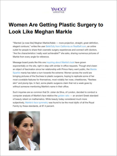Yahoo Lifestyle: Women are getting plastic surgery to look like Meghan Markle
