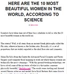 COSMOPOLITAN: 10 most beautiful women in the world, according to research by Dr Julian De Silva