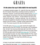GRAZIA: Dr De SIlva names the World's Most Beautiful Woman