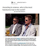 MSN: According to science, who is the most handsome man in the world?