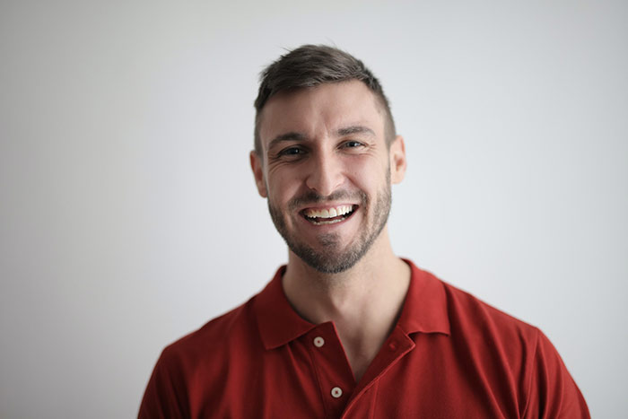 Smiling male patient